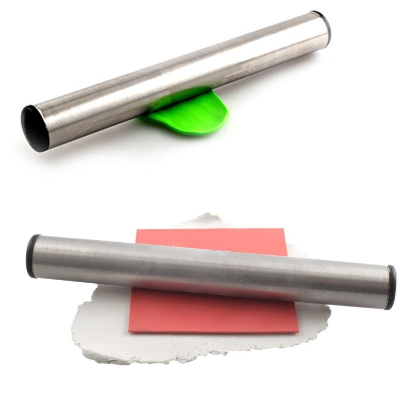 Rouleau inox cernit pour p te polym re - Rouleau peinture effet cuir ...